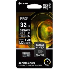 Platinet Pro3 microSDXC 32GB Class 10 U3 with Adapter